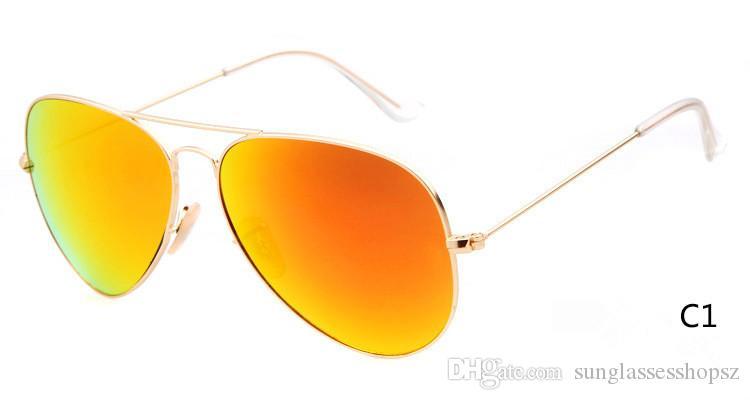 NEW Metal Sunglasses Designer Eyewear Flash Glass Lens For Mens Womens Mirror Sunglasses Round unisex sun glasse