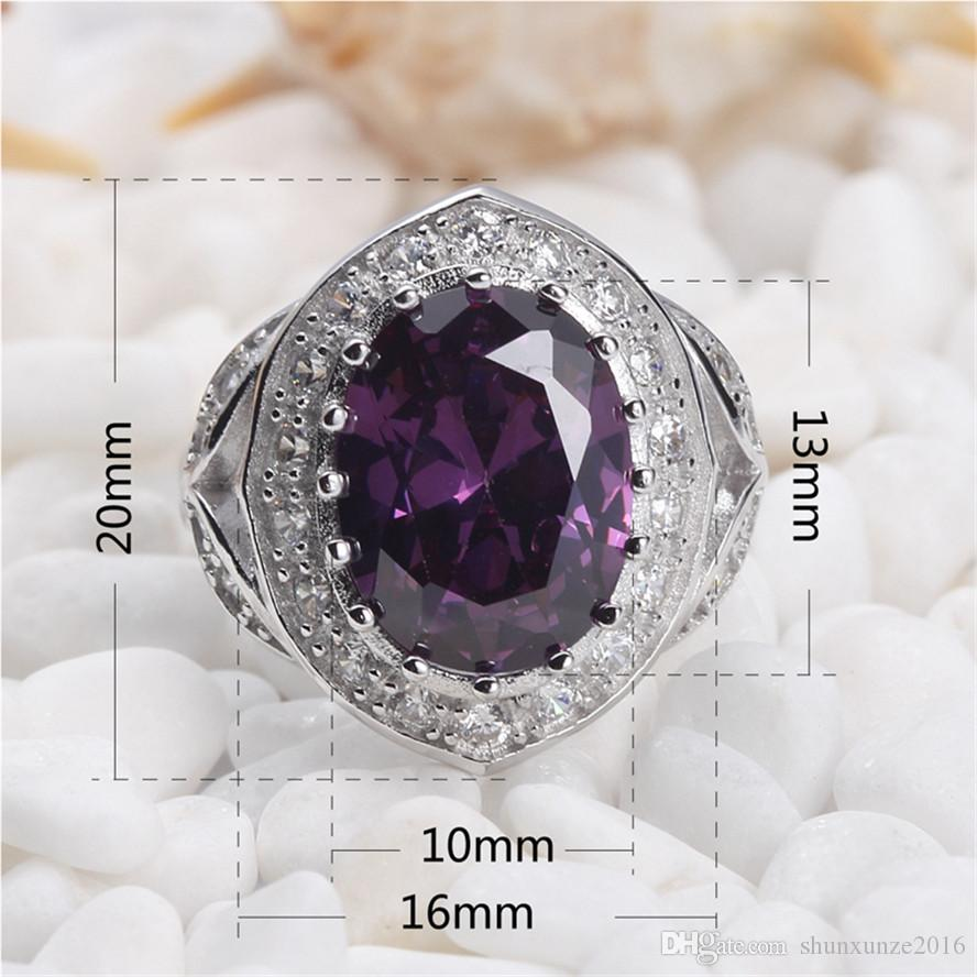 925 sterling silver Promotion heart set ring/earring/pendant Noble Generous S-Rock Amethyst Cubic Zirconia CUte The new product