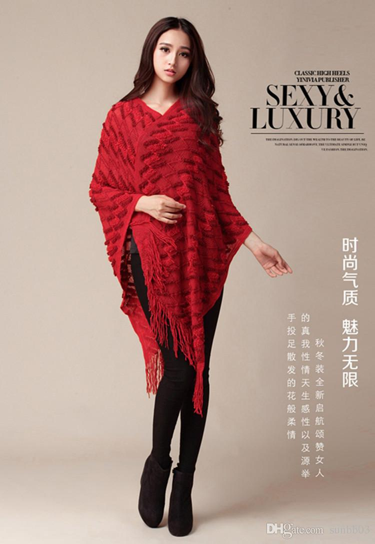 Hollow Out New Fashion Knit Ponchos Tempo libero Cardigan Knitting Coat Lady Batwing Cape Nappa Poncho Knitwear Scialle Wraps Cardigan Maglione