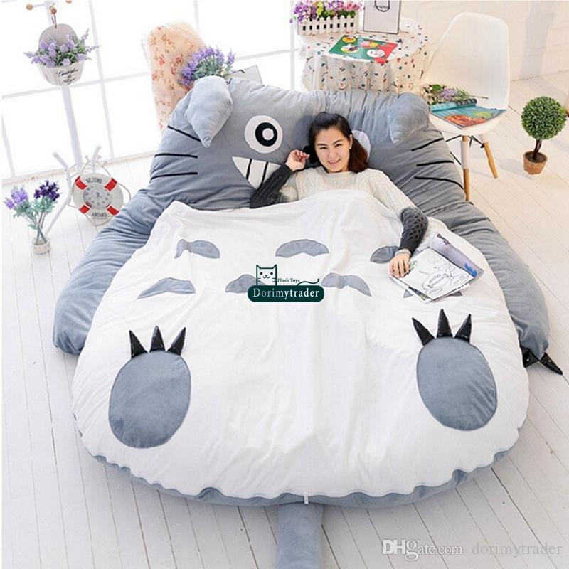 2018 Dorimytrader 210cm X 170cm Pop Japanese Anime Gray Totoro Plush Bed Beanbag Big Stuffed Cartoon Sleeping Bag Tatami Sofa Dy60258 From