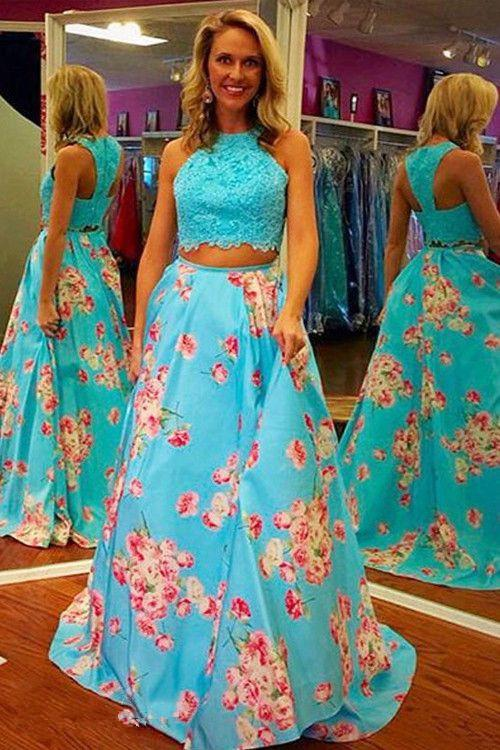 Two Pieces Long Dresses Ross Floral Formal Gown Lace Appliques ...