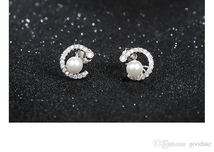 925 스털링 실버 스터드 귀걸이 패션 쥬얼리 문자 C 여성용 지르콘 다이아몬드 크리스탈 쉘 진주 귀걸이의 전체