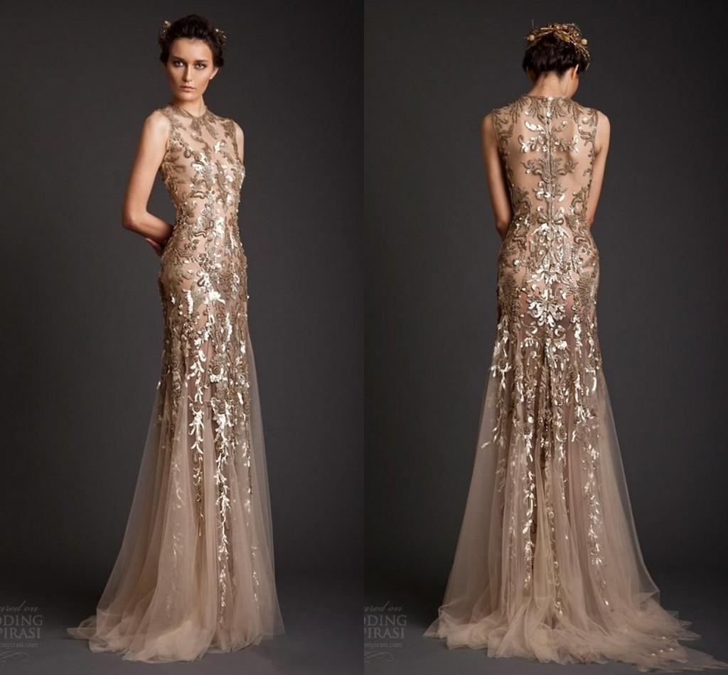 Krikor Jabotian Evening Dresses Classic Gold Mermaid Shape Tulle ...