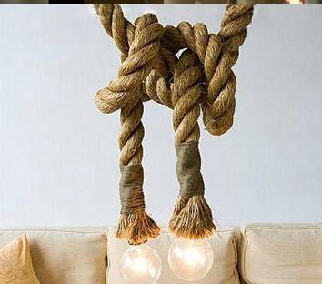 أصحاب e27 حبل مصباح المصباح خمر اليد الحياكة القنب مصباح 2.5 متر طول الجهد 30 سنتيمتر بأقطار AC85v-265V