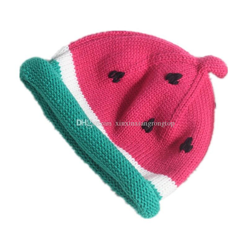 2017 New Brand Adorable Toddler Infant Child Kids Baby Girls Boys Watermelon Hat Knit Beanie Hats Winter Fashion Cute Lovely Cap 1-6T