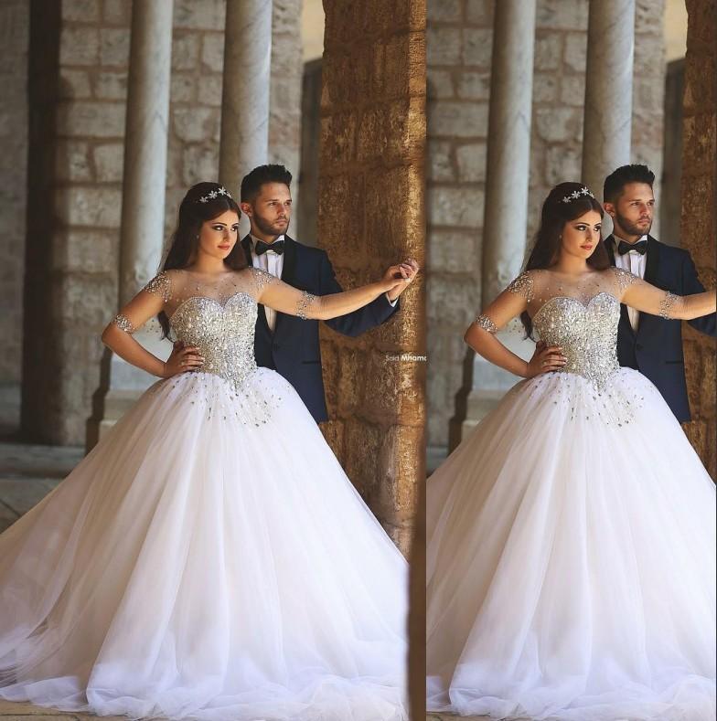 Long Sleeve Wedding Dresses Beaded Rhinestones Sheer Neck Plus Size ...