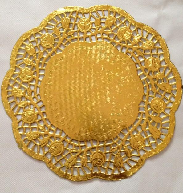 100 Pcs 12 30cm Gold Round Lace Paper Doilies DoyleysVintage Coasters Placemat Craft Wedding Invitations Table Decoration