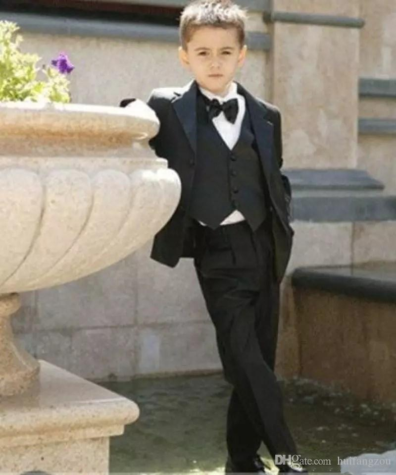 Boy's Formal Occasion Tuxedos Little Men Suits Drop Shipping Children Kids Wedding Party Tuxedos Boy's Formal Wear Jacket+Tie+pants+vest