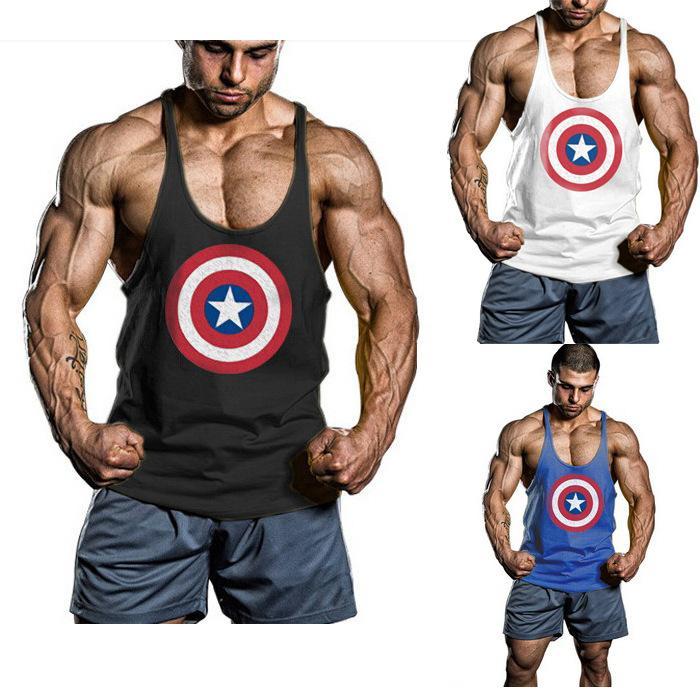 Captain America Gym Clothing Cotton Men Tank Top Hurdles Singlets Bodybuilding Vests Exercise Fitness Wear Mens Sleeveless Shirts Stringer