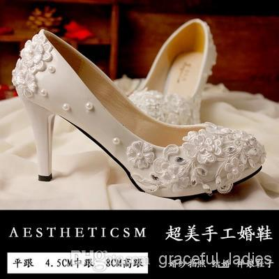 Ivory Wedding Shoes Lace Applique Pearl Beaded Crystal Bridal Shoes ... 00ee2c43a1e1