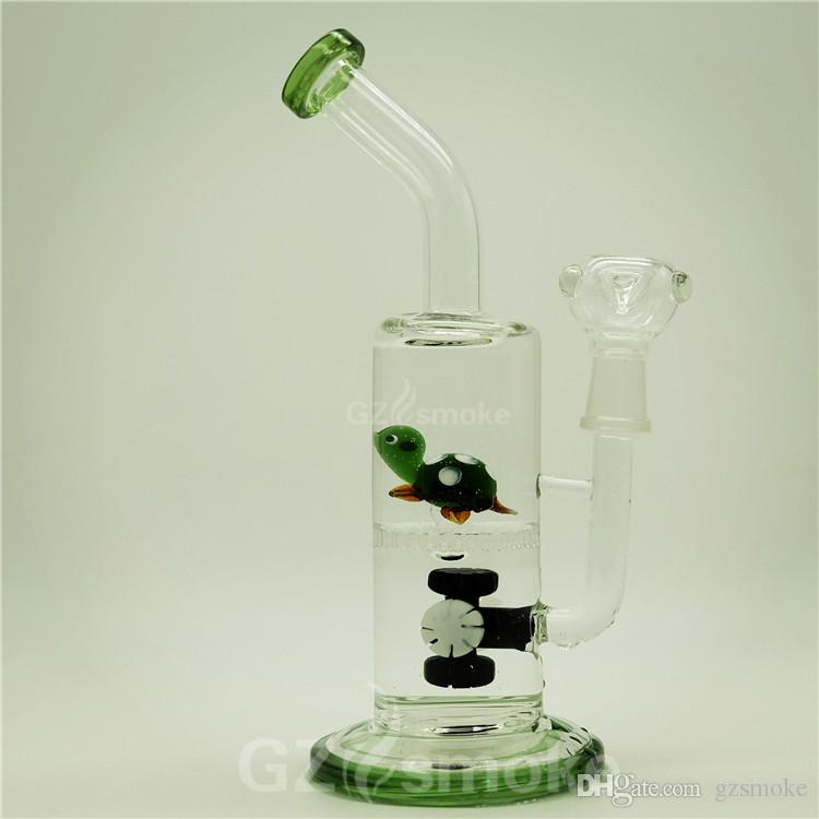 2 Functions Layer Filter Glass Water Bong With Colorful Diffuser Percolator Glass Water Pipes With Tortoise on Honeycomb Effect Glass bongs