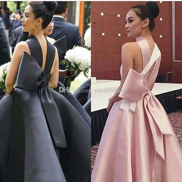 New Short Black Cocktail Dresses 2019 High Neckline Big Bow Ball Gown Tea Length Modest Pink Prom Party Evening Gowns Cheap Custom Made