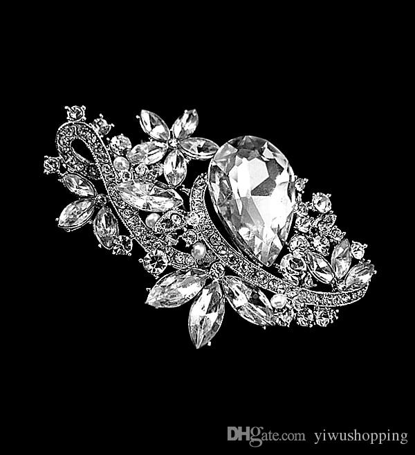 3.15 Inch Rhodium Silver Plated Clear Rhinestone Crystal Diamante Wedding Flower Pins and Brooches with Glass