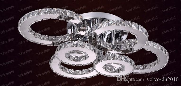 Nieuwe Ecopower Luxe LED Ring Crystal Kroonluchter Woondecoratie Verlichting Crystal Lamp Ring Design Garantie 100% LLFA4969F