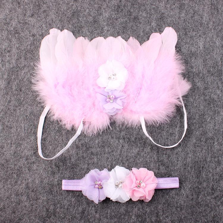 Baby Angel Wing + Chiffon fiore archetto Fotografia Puntelli Set neonato Piuttosto Angelo Fata Rosa piume Ala Costume Foto Prop YM6101