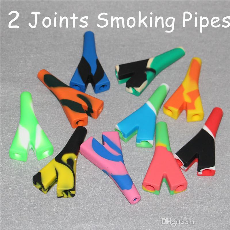 Venda quente Fabricante 2 Articulações Titular Tubo De Silicone Raw Blunt Bubbler Fumar Tubos de Bolha Pequeno Tubo De Mão DHL