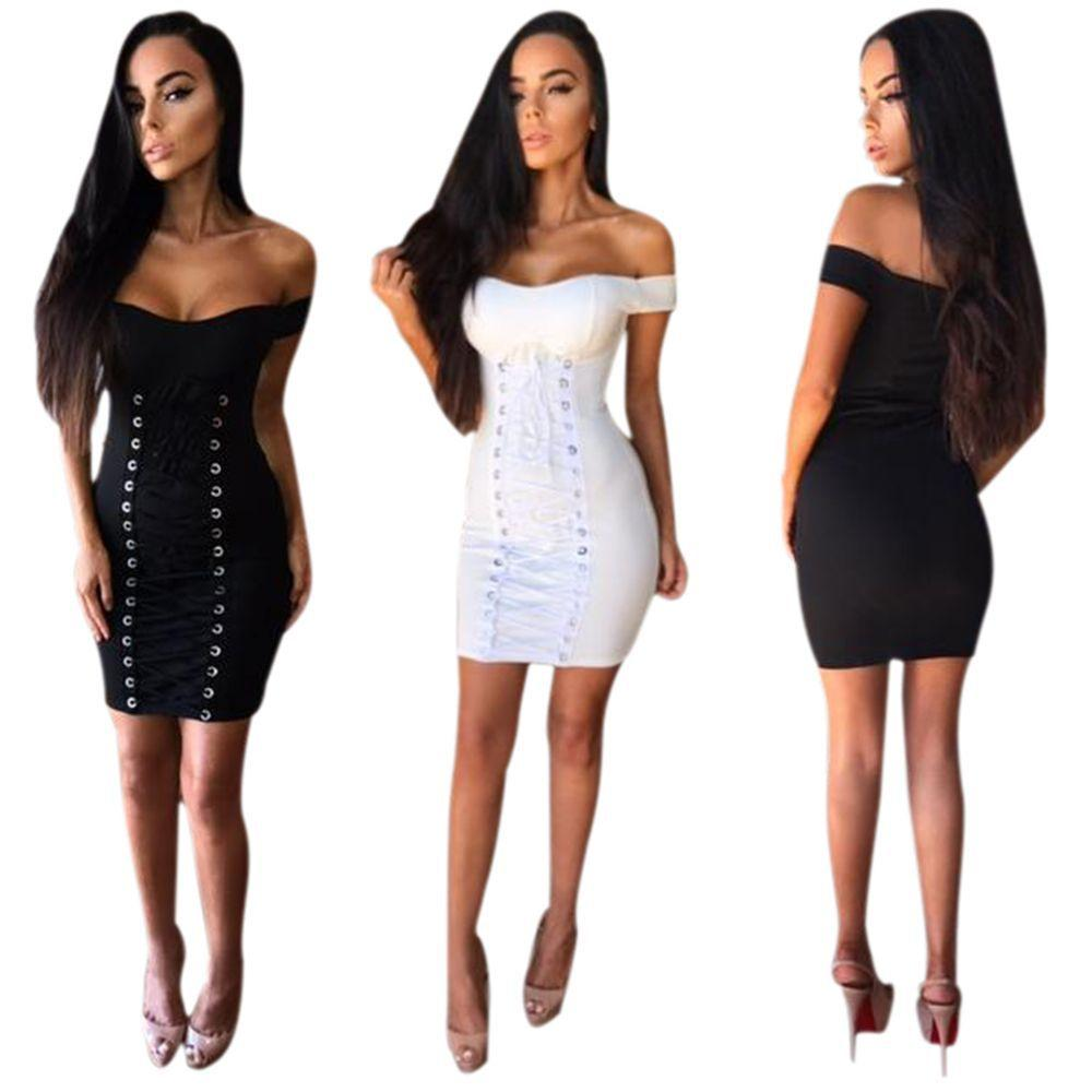 2019 2017 New Women S Sexy Off Shoulder Bodycon Dresses Punk Style Lace Up  Front Short Sleeve Party Cocktail Club Mini Bandage Dress From Hengytrade c0cb68cc435f