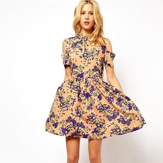 Chiffon Floral Short Dresses