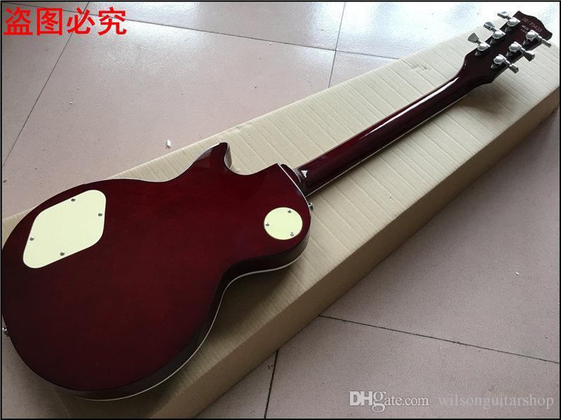 Novo padrão LP CUSTOM SHOP vinho vermelho guitarra elétrica, padrão de chama de tigre, corpo de mogno sólido Real foto mostra