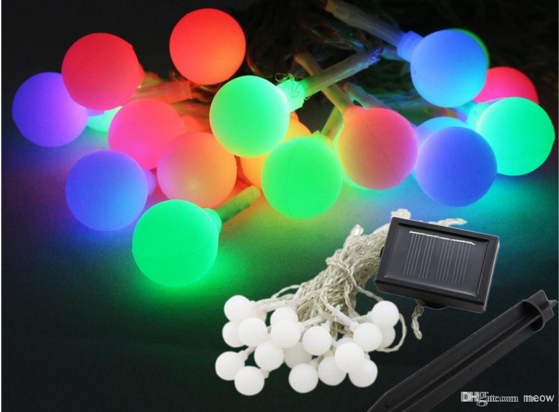 Solar String Light Round Colorful 20 LED Frosted Small Ball Lamp Solar  Energy Deco Light Garden Decoration Lights Outdoor Decor Lighting