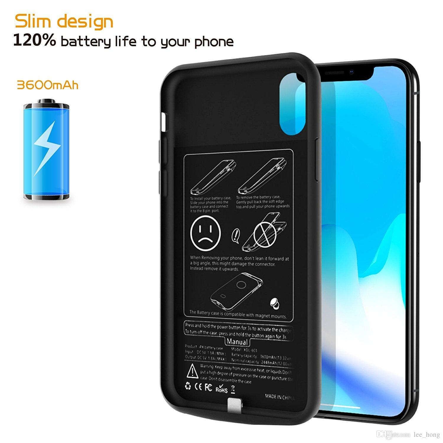 814e8f429 Smart Battery Case for IPhone X/XS 6000mAh Rechargeable Portable Charger  Protective Charging Case for IPhone X XS/10 XR XS MAX Iphone X Power Case  Iphone XR ...