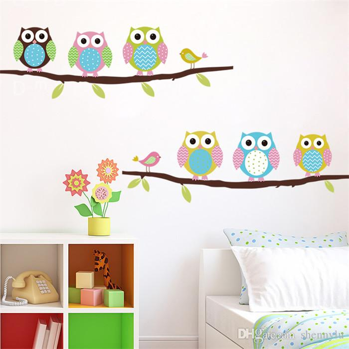 New Cartoon children's room bedroom walls painted decorative stickers cute Owl Animal Wall Stickers Factory Wholesale