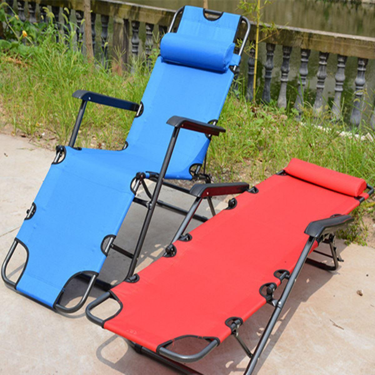 178*61*30cm Portable Metal Oxford Cloth Folding Chairs Office Napping Chairs  Beach Bed Chair Outdoor/ Swimming Pool Lying Chair Tie Chair Waiting Chair  ...
