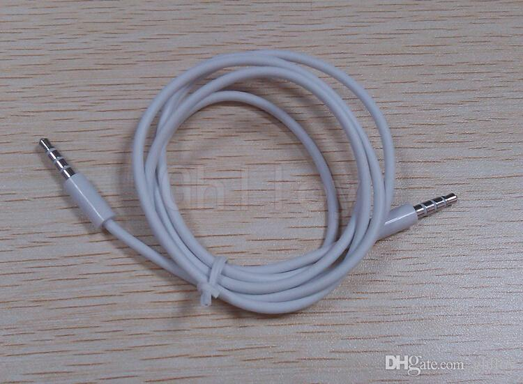3.5mm AUX ses kabloları erkek erkek Stereo Araba Uzatma ses Kablosu MP3 telefon hoparlör için beyaz veya siyah renk 1 M 100 adet up