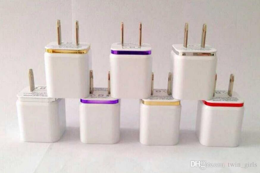 Cep telefonu şarj-ABD Plug 2A Çift USB Duvar Şarj Adaptörü 2 Port Şarj Adaptörü i7 i6 HTC Samsung için
