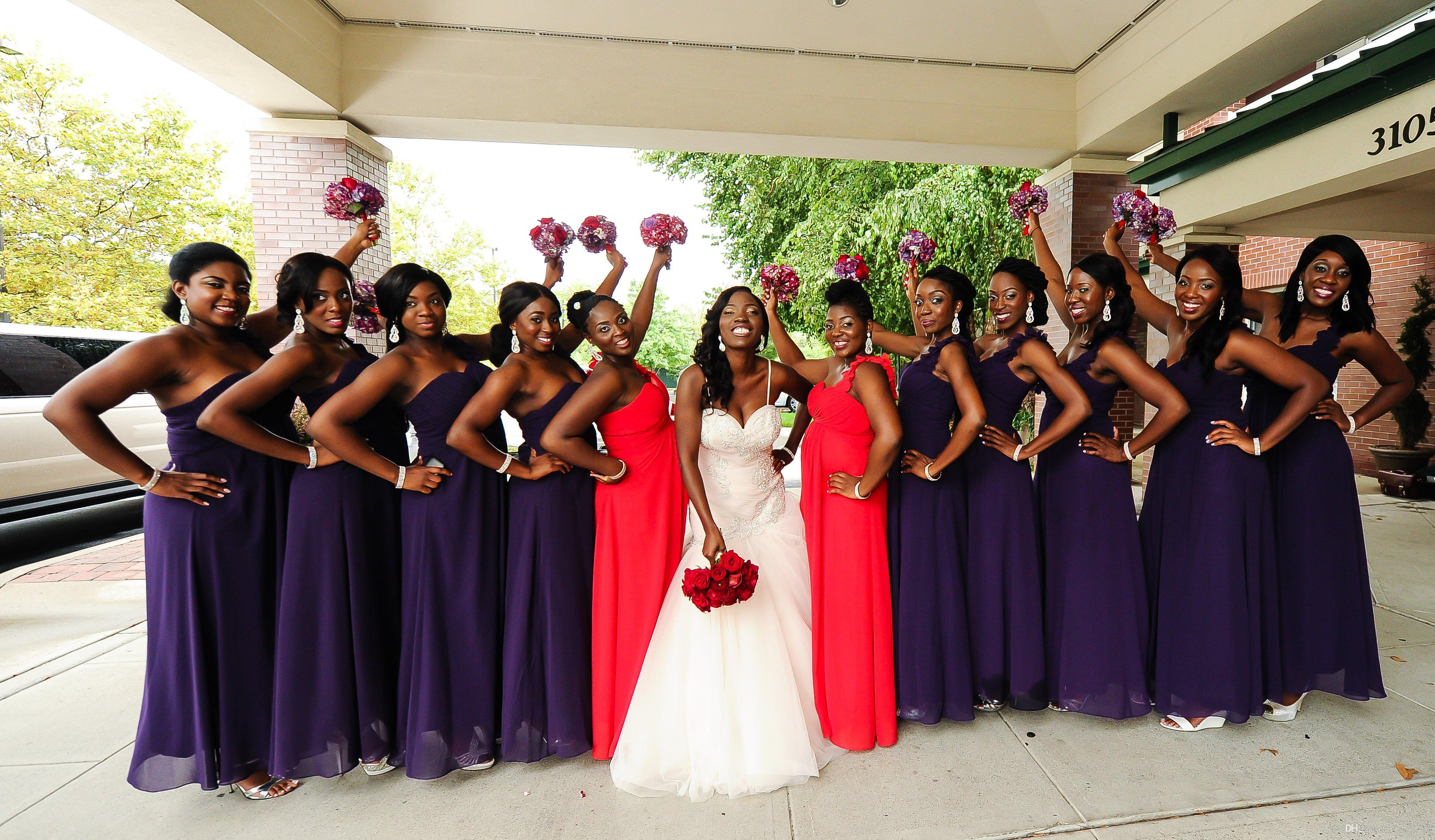 Nigerian purple bridesmaid dresses one shoulder ruffle wedding nigerian purple bridesmaid dresses one shoulder ruffle wedding party dresses long floor length arabic plus size dresses a line mermaid bridesmaid dresses ombrellifo Images