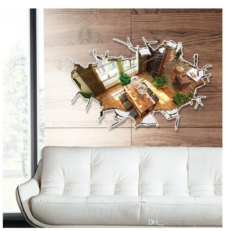 3D Cracked Wall Art Mural Decor Sticker Home Decoration Wallpaper Decal Poster Unique Floor Applique Decor 60 x 90cm