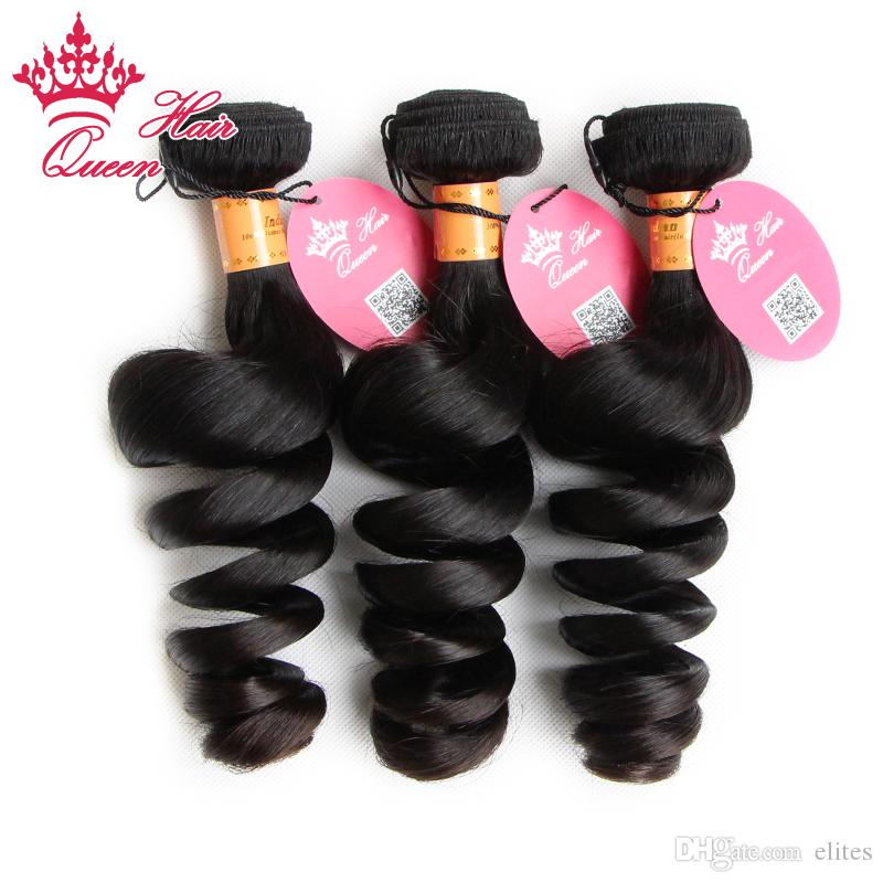 """Queen Hair Prodcuts Indian virgin human hair extensions machine double weft weave Loose Wave DHL Fast shipping 8""""-28'' #1B"""
