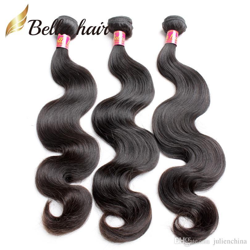 اللون الطبيعي بيرو الشعر نسج 4 قطعة / الوحدة كامل الرأس مزدوجة لحمة طول مختلط 10-24 بوصة الصف 9a الجسم موجة الشعر البشري