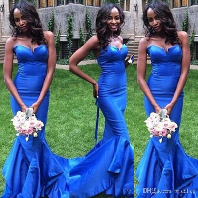 Robe africaine sexy équipée de longues robes formelles sirène de bal sweetheart sans manches bleu clair sur mesure robe de soirée volants ourlet