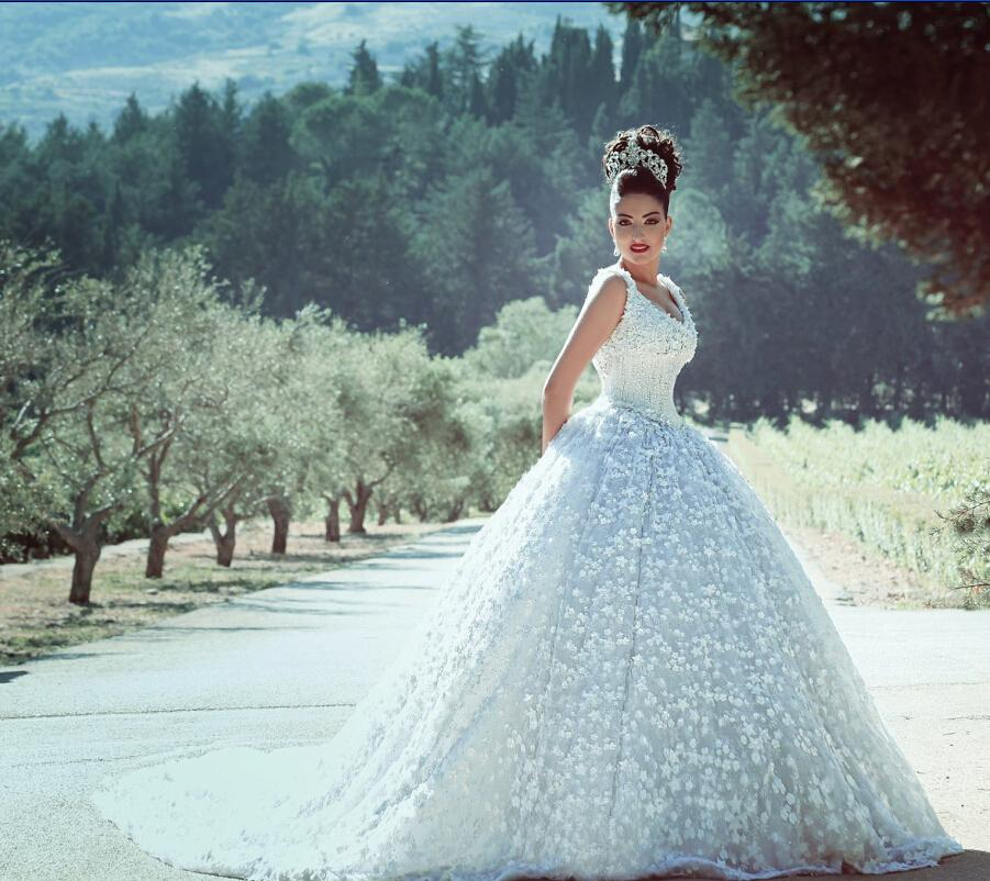 Gorgeous 2021 Kuwait Wedding Dresses Sheer Bridal Gowns Beading Ball Gown Crew Neck Plus Size Lace Up Formal Wedding Gowns