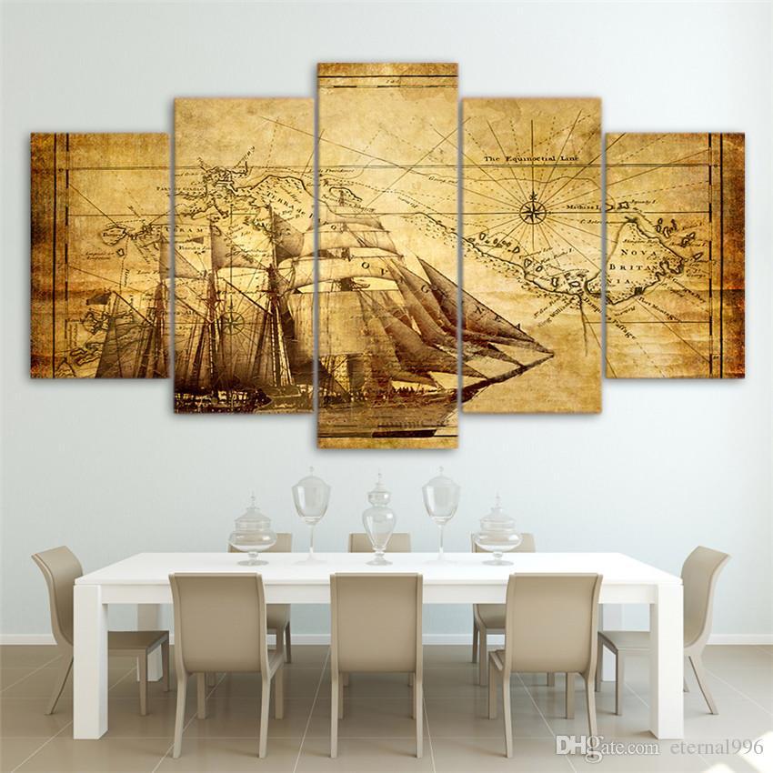 Compre 5 Panels Mapa Antigo Modern Abstract Canvas Pintura A Óleo Impressão Wall  Art Decor For Living Room Decoração Para Casa De Eternal996, ...