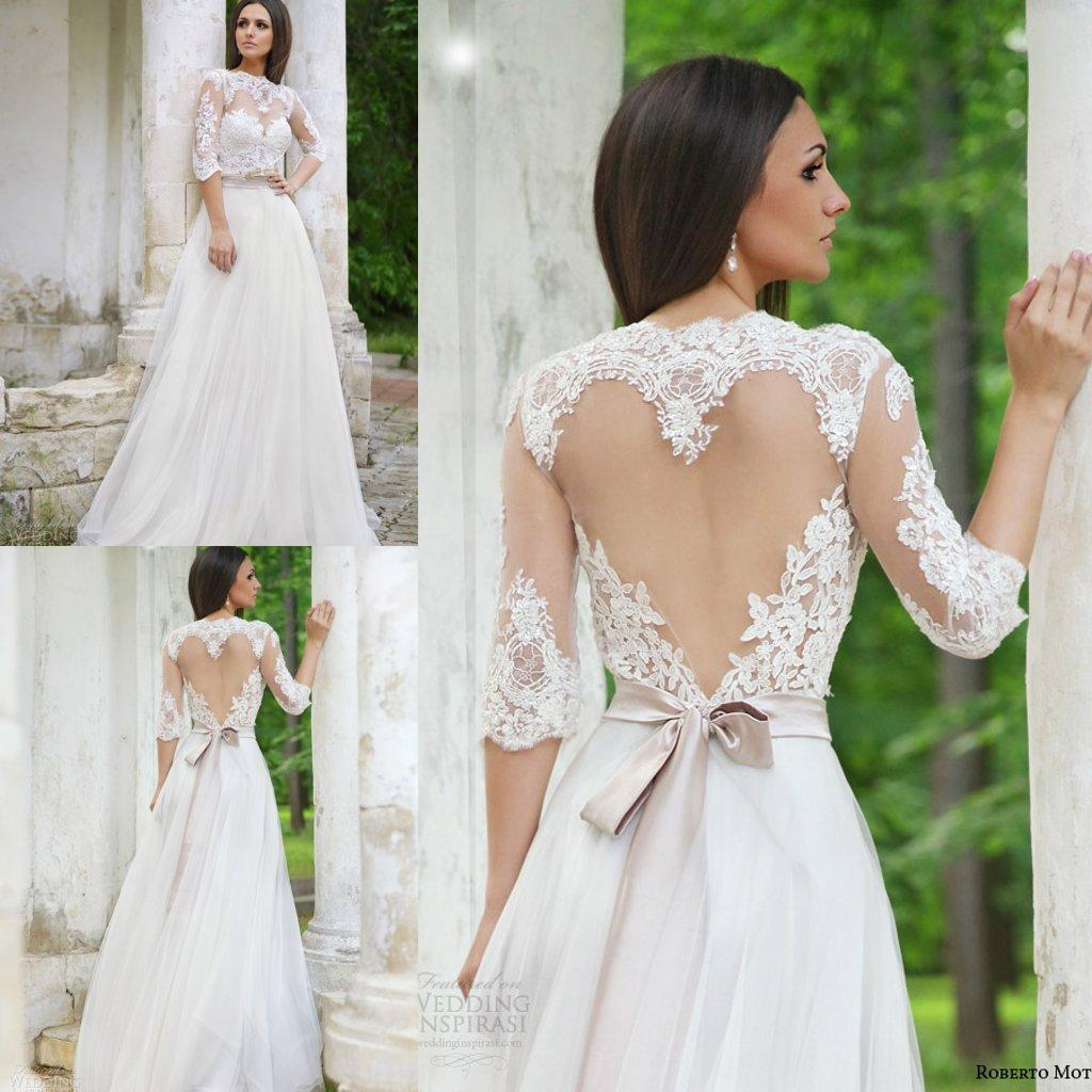 Discount Elegant 2016 Lace Wedding Dresses Half Sleeves High Neck ...