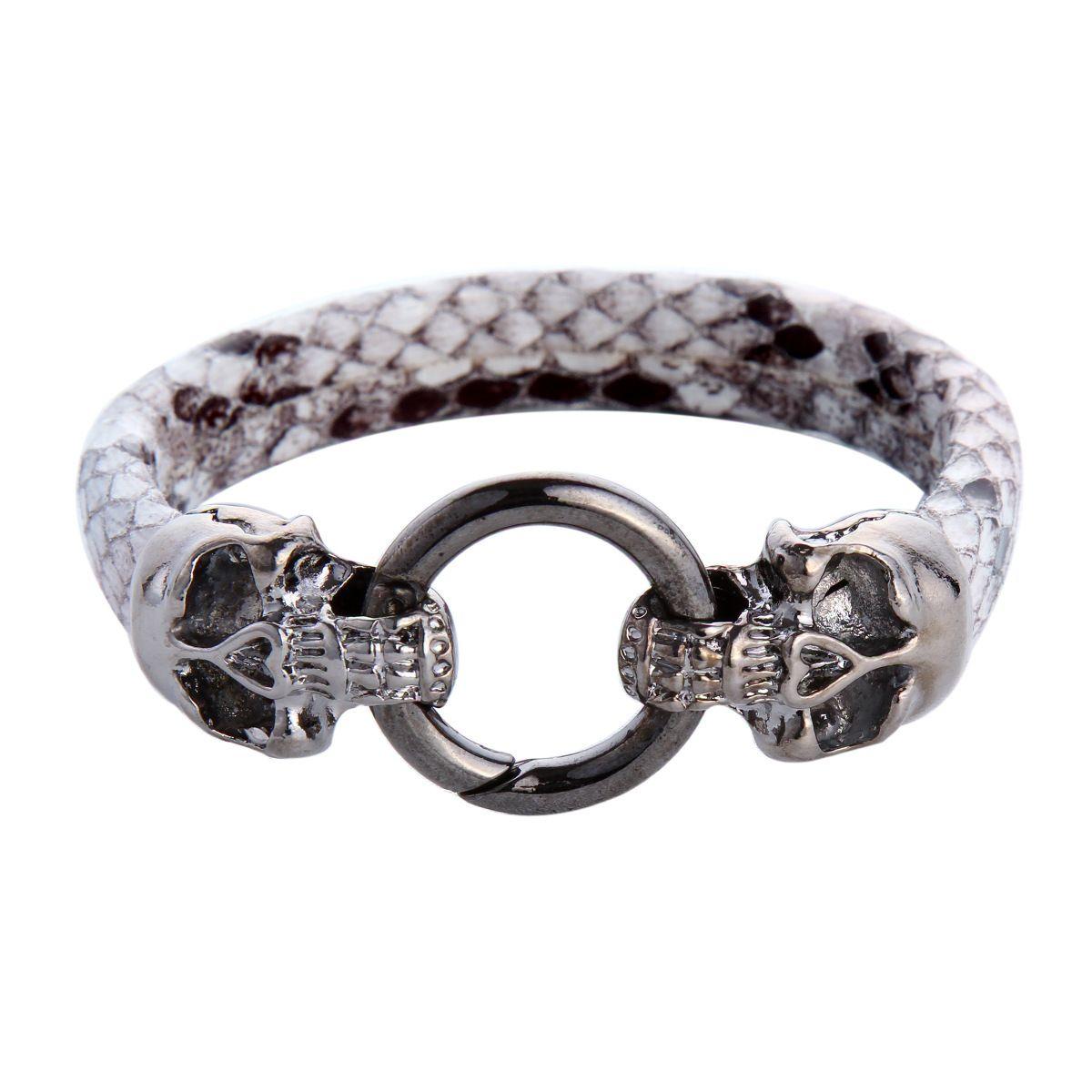 New Men Leather Bracelet Fashion Skull Snakeskin Bracelets Hiphop ...