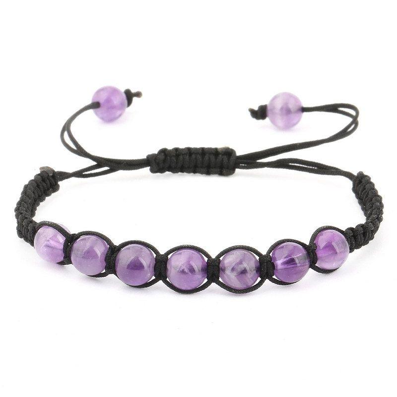 3 Size Natural Stone Amethyst Beads Braided Bracelet Fragrant Bracelet Charm Stone Healing Energy Stone Stretch Bracelet D89S