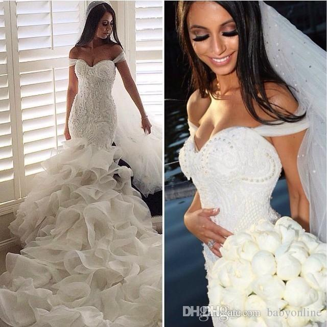 Glamorous 2017 Fashion Mermaid Wedding Dresses Tiered Skirts Off the Shoulder Sexy Bridal Gowns Lace Ruffles Pearls Wedding Dress BA0806