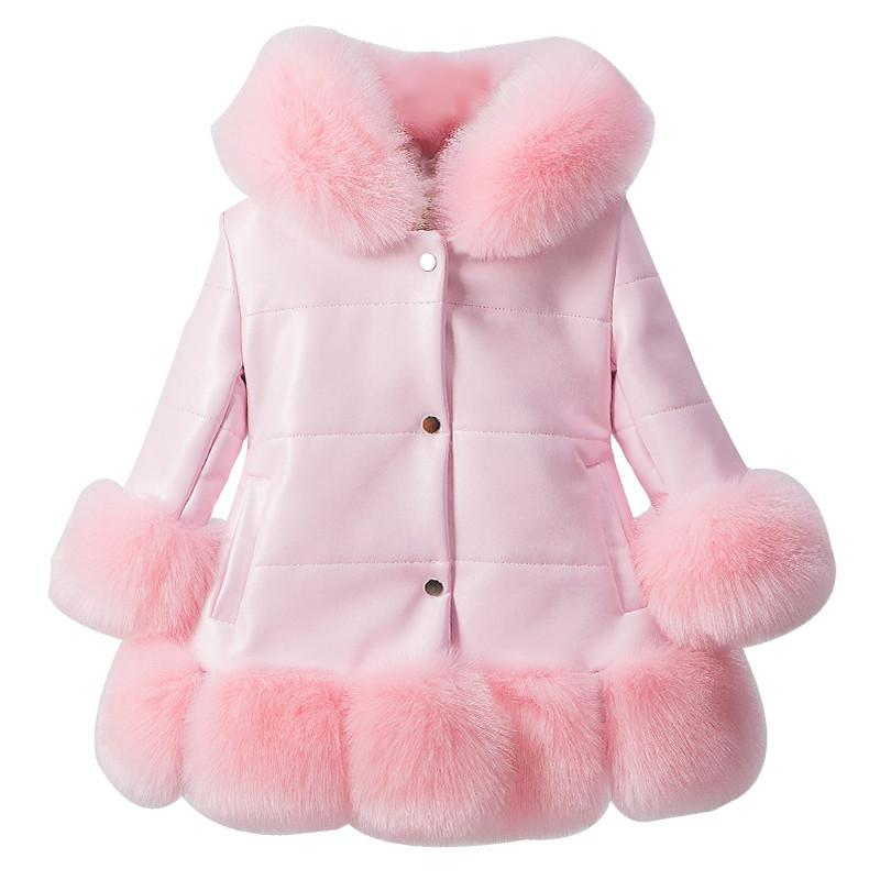 9eb2092aa solid baby girl down coat cute faux fur overcoat for 2-12yrs girls children  kids Winter jacket thick warm outerwear costume