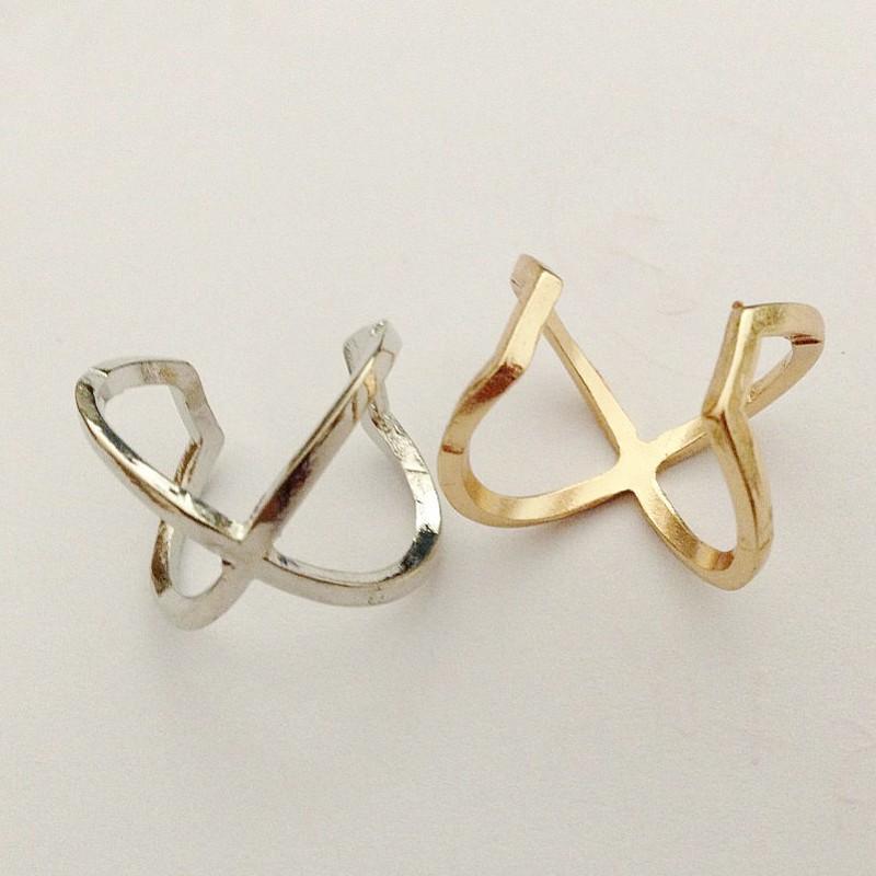 Dhl Wholesale Fashion Men Women Jewelry Gold Silver Open Cuff X