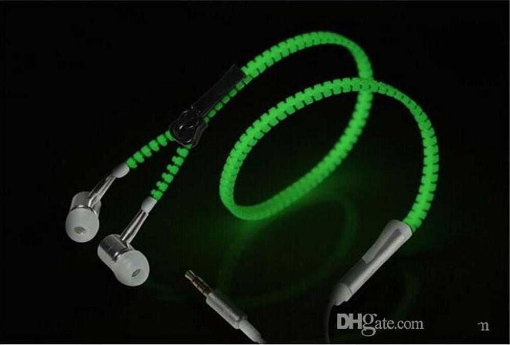 Uso universal LED Forma de la cremallera del auricular Auriculares In-Ear LED Parpadeo Auriculares estéreo Brillante venta caliente brillo flash earset