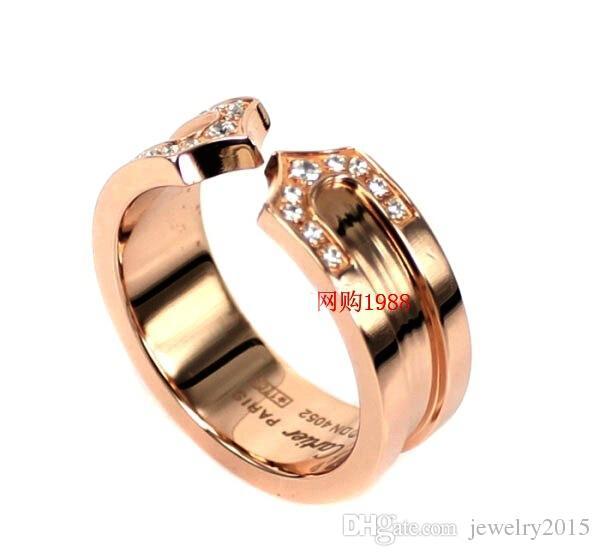 Anillo chapado en oro rosa de 18 quilates con piedra de CZ Anillo de los amantes de titanio en titanio 316L Anillo de bodas Anillo de bodas