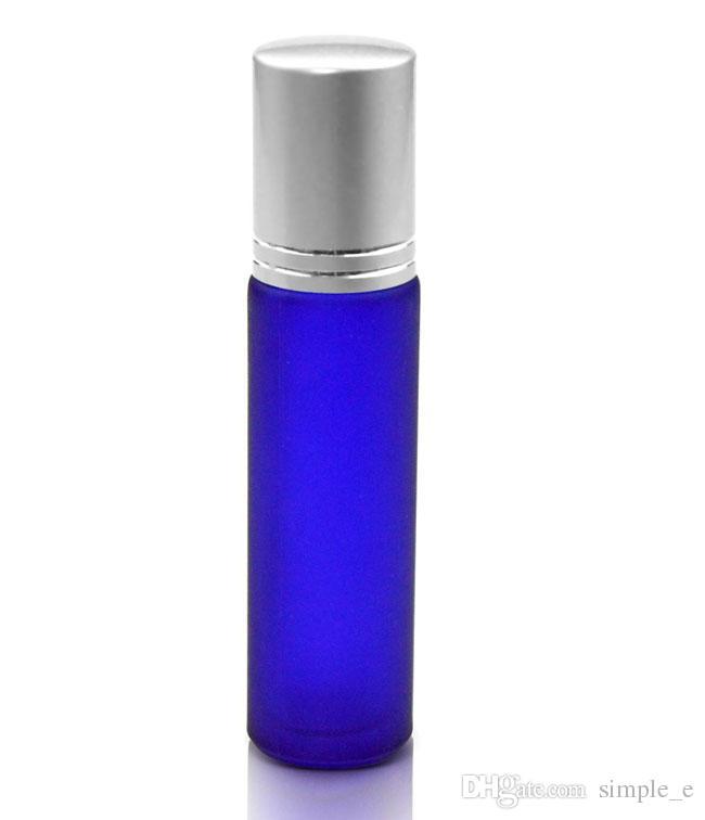 10ml Frostat Roll på glasflaskor Essentiell oljestål Metal Roller Ball av DHL / EMS / FedEx