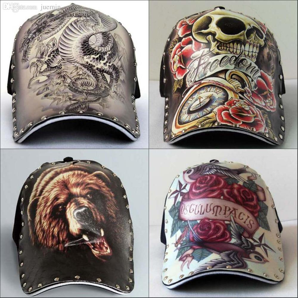 Wholesale-Cool new Original Personality antique retro chapeu casquette  baseball cap adjustable hats pyrography 3D print tattoo Hip-hop cap