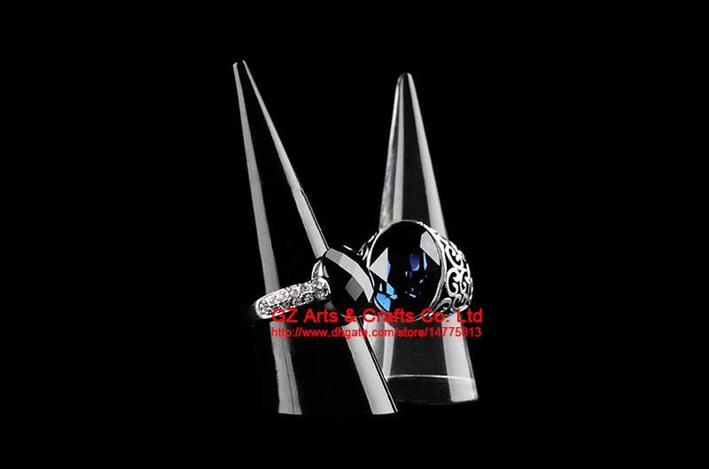 Supporto acrilico nero / chiaro del supporto di punta dei gioielli di punta di punta del plexiglass del supporto di anello acrilico della vetrina