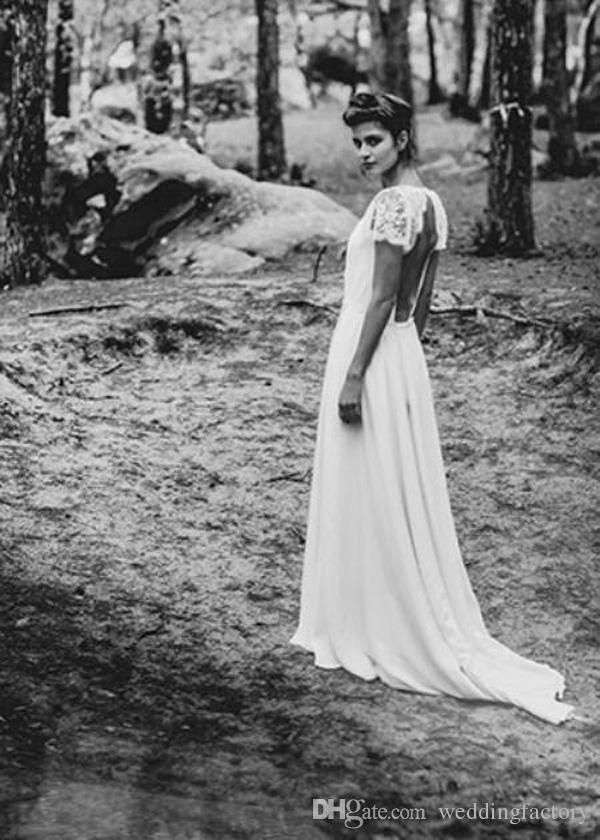 Bohemian Wedding Dresses Laure de Sagazan Sheath Sexy Bridal Gowns Backless V Neck Boho Beach Wedding Gowns Short Sheer Lace Sleeves