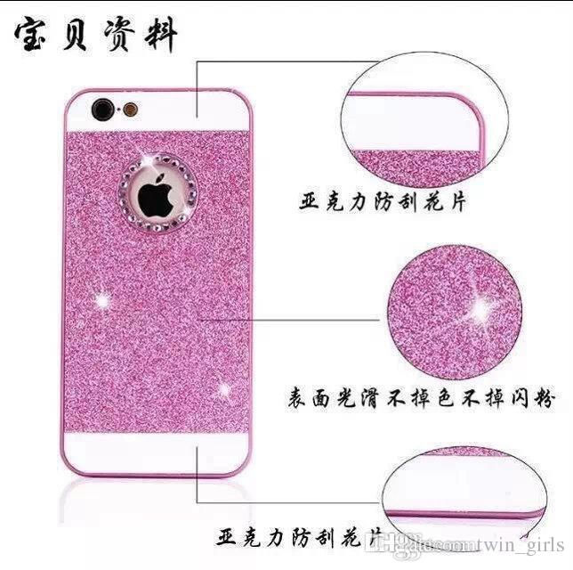 Diamond Glitter Plastic PC Hard Gold Bling case Dual Color cover for iphone 6 plus 6G 5.5'' 4.7'' 4 4G 4S 5 5G 5S Ring Round Hole skin cover
