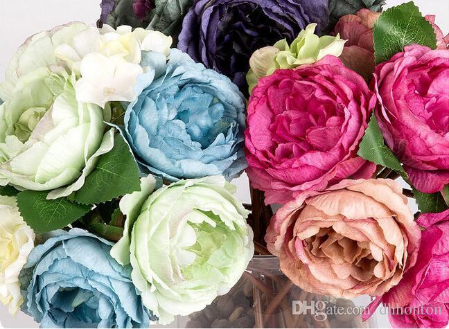 27 cm peônia Artificial flor de seda flores artesanais flores ornamentais interior peônia flores festival suprimentos frete grátis SP02
